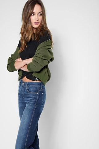 7 For All Mankind Drapey Bomber Jacket In Burnt Olive