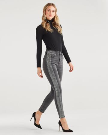 7 For All Mankind Women's High Waist Ankle Skinny With Metallic Glitter Tux Stripe In Washed Black