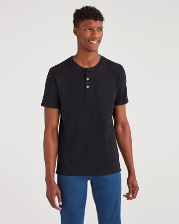 7 For All Mankind Men's Boxer Three Button Henley In Black