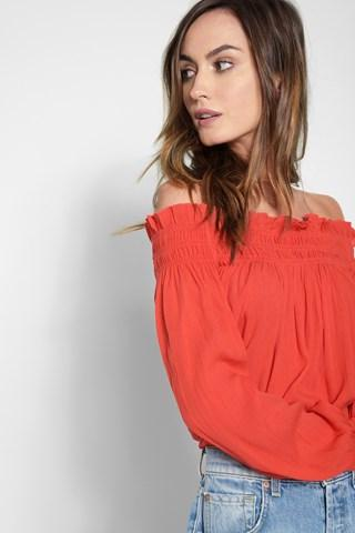 7 For All Mankind Billow Sleeve Off The Shoulder Top In Hibiscus