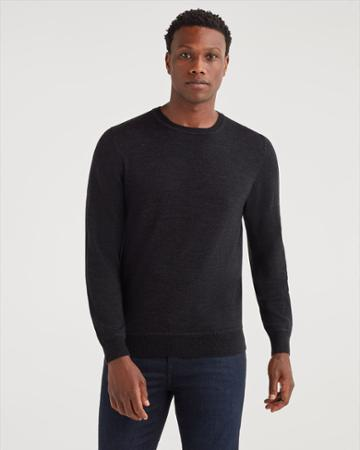7 For All Mankind Men's Merino Wool Long Sleeve Crewneck In Heather Black