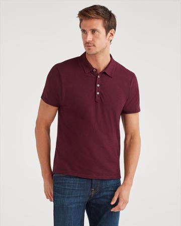 7 For All Mankind Men's Short Sleeve Polo In Aubergine