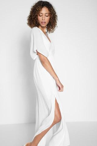 7 For All Mankind Shirred Maxi Dress In White
