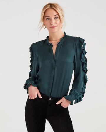 7 For All Mankind Cold Shoulder Ruffle Top In Dark Forest Green