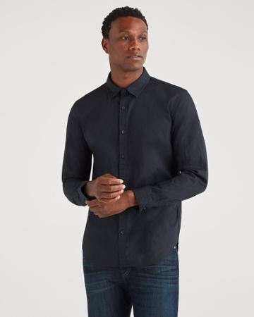 7 For All Mankind Men's Poplin Roadster Long Sleeve Shirt In Black
