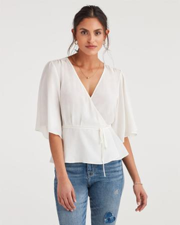 7 For All Mankind Women's Wrap Front Short Sleeve Top In Soft White