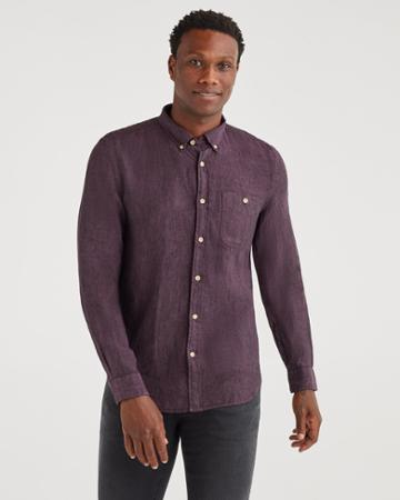 7 For All Mankind Men's New Icon Button Down Collared Shirt In Dark Aubergine