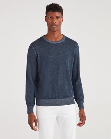 7 For All Mankind Men's Bleeker Crew Neck Sweater In Plaited Navy