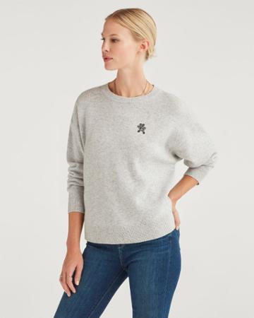 7 For All Mankind Women's Step Hem Pullover With Teddy Embellishment In Heather Grey