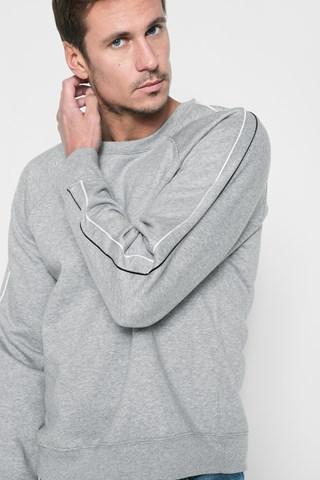7 For All Mankind Stripe Sleeve Sweatshirt In Heather Grey