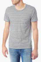 7 For All Mankind Feeder Stripe Crew Tee In Navy