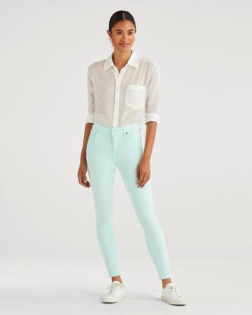 7 For All Mankind Women's High Waist Ankle Skinny In Dark Mint