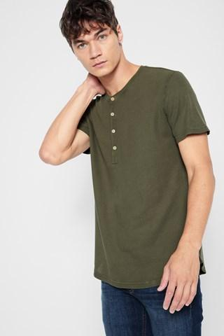 7 For All Mankind Short Sleeve Thermal Henley In Fatigue