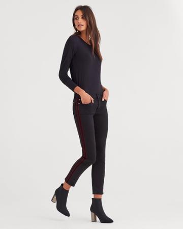 7 For All Mankind B(air) Denim High Waist Ankle Skinny With Double Burgundy Velvet Stripes In Black
