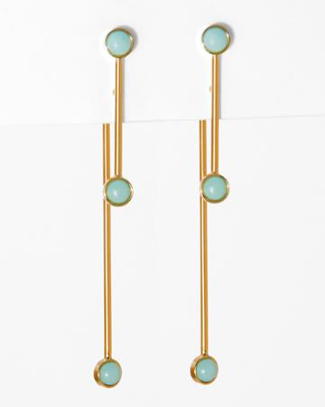 7 For All Mankind Wanderlust + Co Double Bar Circle Earrings In Mint And Gold