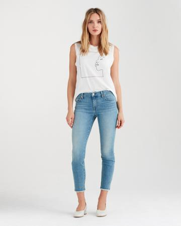 7 For All Mankind Kimmie Crop With Frayed Hem In Desert Heights