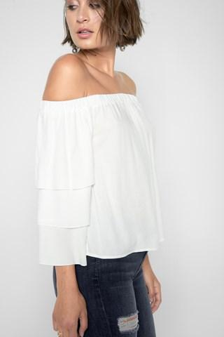 7 For All Mankind Ruffle Off Shoulder Top In White