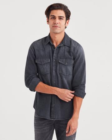 7 For All Mankind Western Denim Shirt In Greystone Black