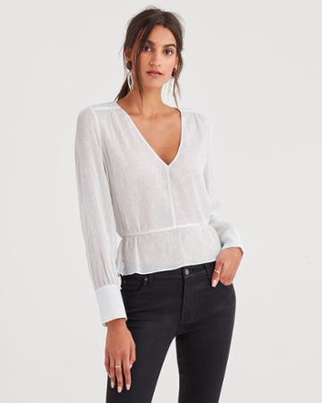 7 For All Mankind Deep V-neck Peplum Top In Silver