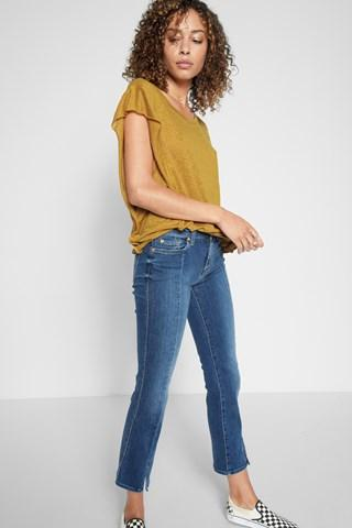 7 For All Mankind Linen Flutter Sleeve Tee In Marigold