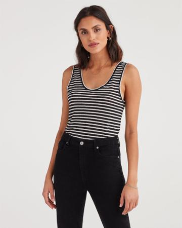 7 For All Mankind Women's Scoop Neck Tank In Black And White Stripe