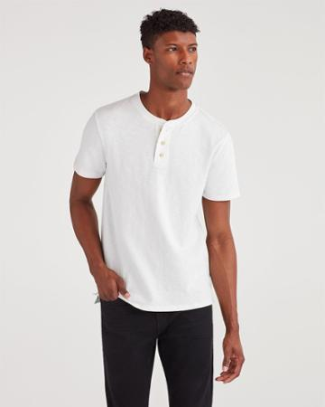 7 For All Mankind Men's Boxer Three Button Henley In White