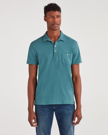 7 For All Mankind Men's Boxer Four Button Polo In Spruce