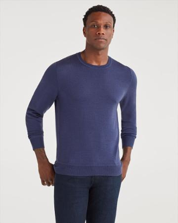 7 For All Mankind Men's Merino Wool Long Sleeve Crewneck In Purple Ash