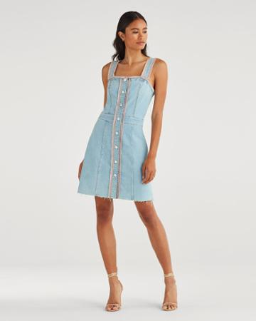 7 For All Mankind Women's Button Front Dress With Rainbow Fringe In Sky High Blue