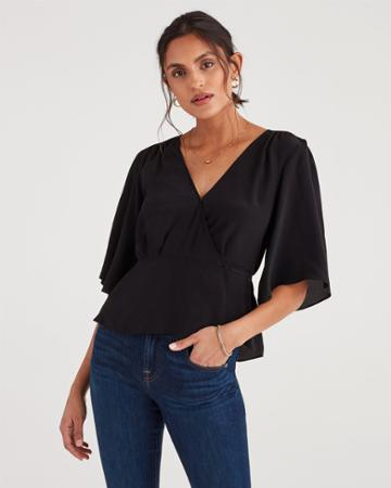 7 For All Mankind Women's Wrap Front Short Sleeve Top In Jet Black