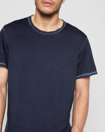 7 For All Mankind Short Sleeve Stonewashed Pima Tee In Washed Jean