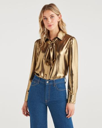 7 For All Mankind Women's Satin Neck Tie Top In Liquid Gold