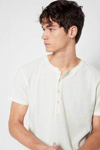 7 For All Mankind Short Sleeve Thermal Henley In Ecru