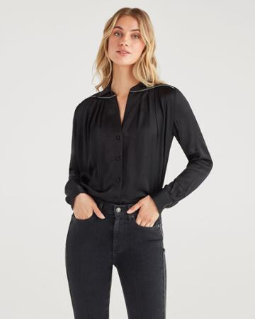 7 For All Mankind Women's Satin Snake Piping Shirt In Jet Black