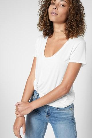 7 For All Mankind Deep U-neck Top In Off White