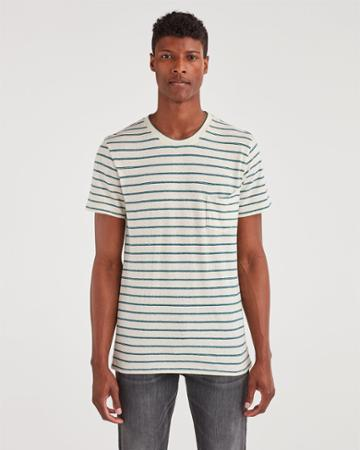 7 For All Mankind Men's Striped Boxer Pocket Tee In Ecru With Spruce Stripe