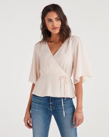 7 For All Mankind Women's Wrap Front Short Sleeve Top In Pink Sunrise