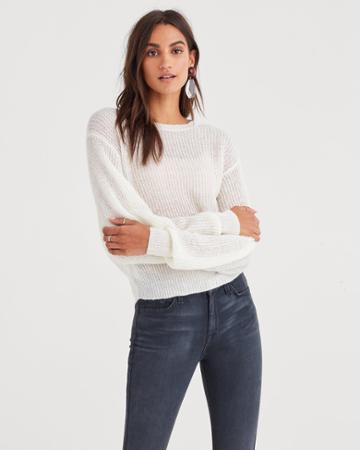 7 For All Mankind Open Weave Sweater In Soft White