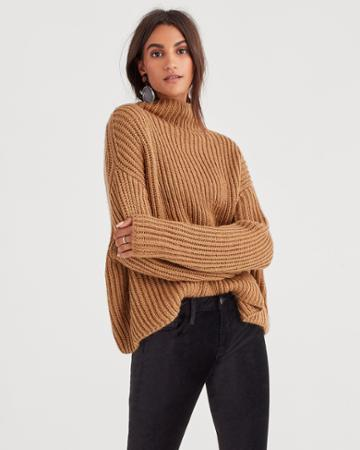 7 For All Mankind Chunky Turtleneck Sweater In Camel