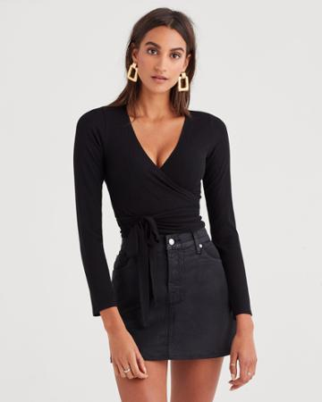 7 For All Mankind Long Sleeve Ribbed Wrap Top In Black