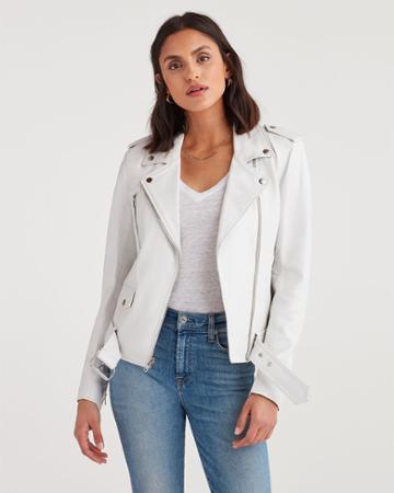 7 For All Mankind Women's Basic Biker Jacket In White