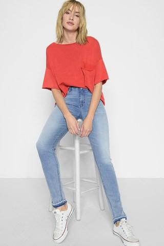 7 For All Mankind B(air) Denim High Waist Ankle Skinny With Released Hem And Side Splits In Mirage