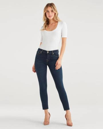 7 For All Mankind Women's Ankle Skinny In Dark Moon Bay