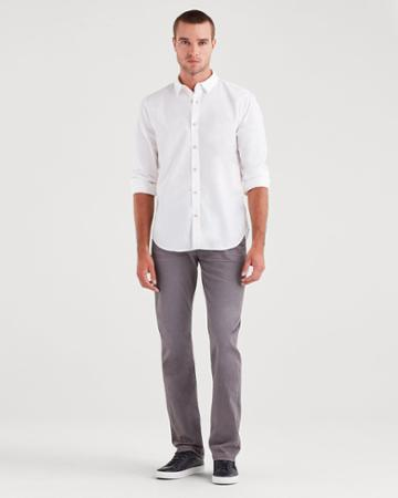 7 For All Mankind Total Twill The Straight With Clean Pocket In Gotham Grey