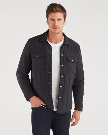 7 For All Mankind Men's Quilted Shirt Jacket In Black