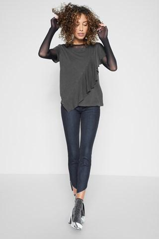 7 For All Mankind Ruffle Tee In Lead
