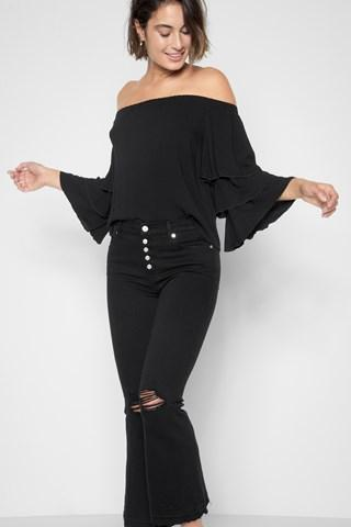 7 For All Mankind Ruffle Off Shoulder Top In Black