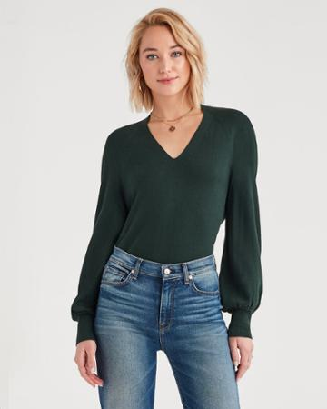 7 For All Mankind V-neck Sweater In Dark Forest Green