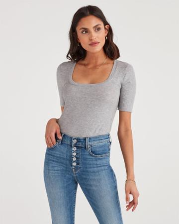 7 For All Mankind Women's Ribbed Scoop Neck Tee In Heather Grey
