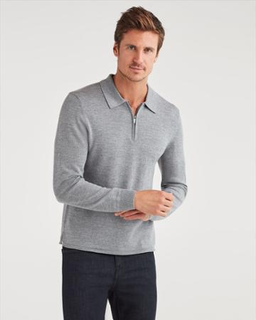 7 For All Mankind Men's Merino Wool Long Sleeve Half Zip Polo In Heather Grey